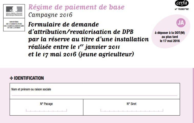 Formulaire DPB